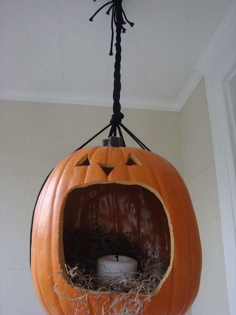 fake pumpkin candle holder