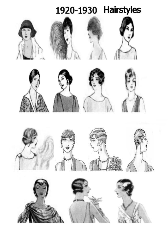 Hair: short hair was a new fad... if hair is long, then it's worn close to the head, often covering the ears and framing the face. If you have the skill for it, fingerwaves are a hallmark of 1920's hair.