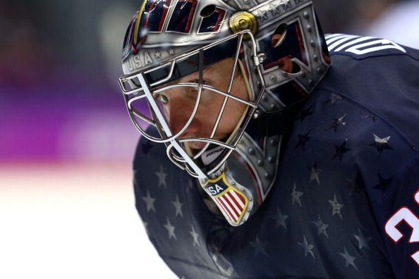 Jonathan Quick #32 of the United States looks on in the third period against Finland during the Men's Ice Hockey Bronze Medal Game (c) Getty Images