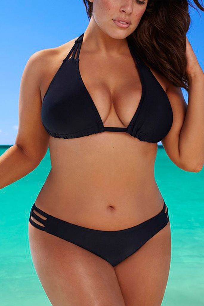 The 21 Best Plus-Size Swimsuits to Wear This Summer - Best Basic Black Bikini by Swimsuits for All from InStyle.com
