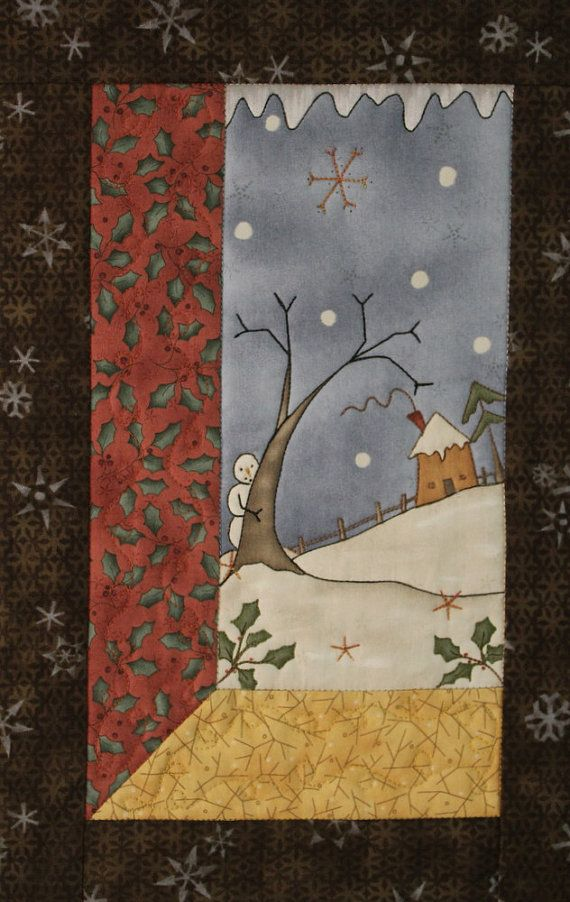 Snowman Wall Hanging Winter Wall Quilt by RedNeedleQuilts