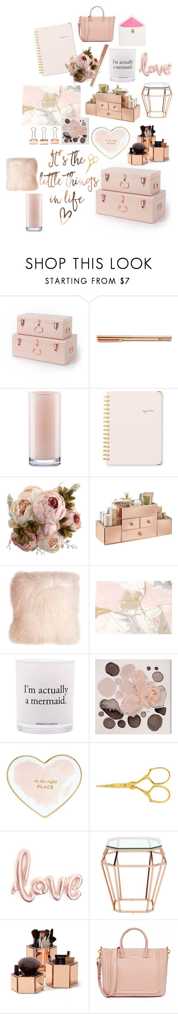 """Rose Gold Office"" by a-little-galaxy ❤ liked on Polyvore featuring interior, interiors, interior design, home, home decor, interior decorating, Kate Spade, Sugar Paper, Pillow Decor and Damselfly Candles"