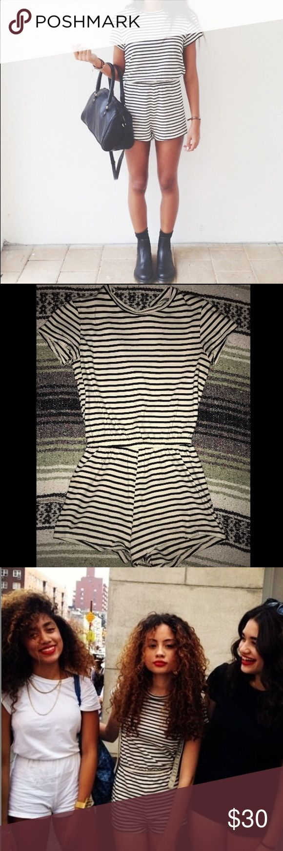 American Apparel Striped T-shirt Romper Worn once, American Apparel black and white striped t shirt romper. Super cute and casual for summer. As seen on Kylie Jenner. American Apparel Other