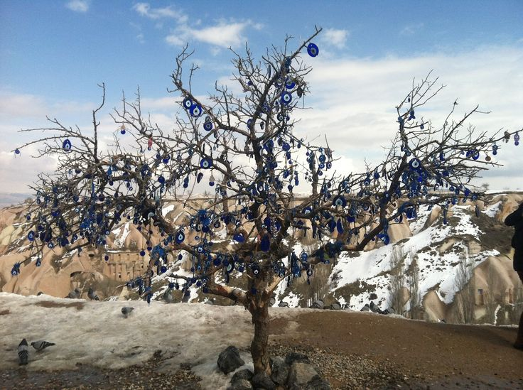 Blue Evil Eye Tree at Pigeon Valley at Cappadocia, Goreme in Turkey