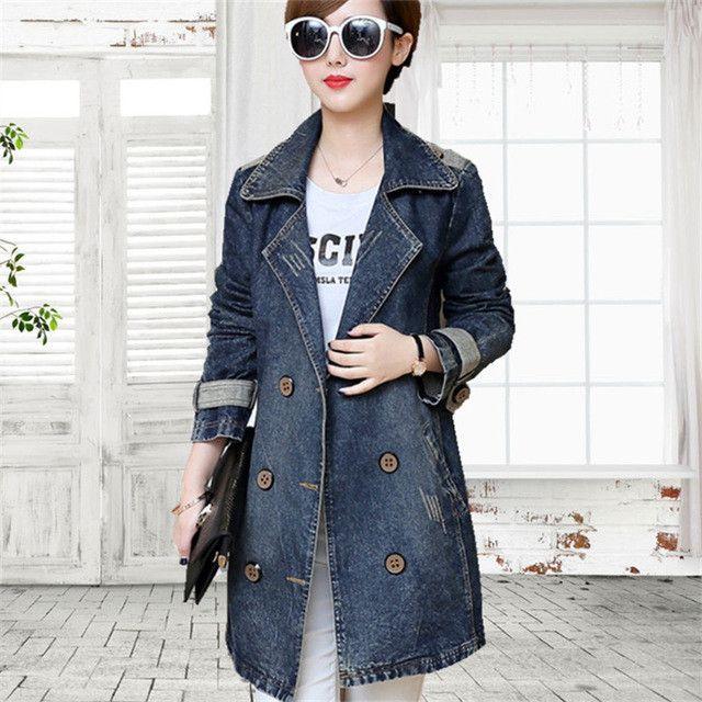 tnlnzhyn 2017 Spring Autumn Women Denim Jacket Lapels Long Sleeve Jeans Jacket Coat Loose Casual ladies denim jackets Tops Y467