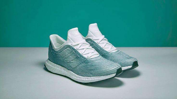Adidas designs shoe containing recycled ocean plastics.