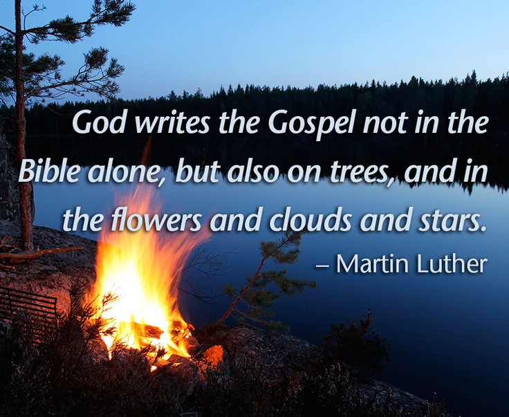 Campfire at night with quote by Martin Luther.