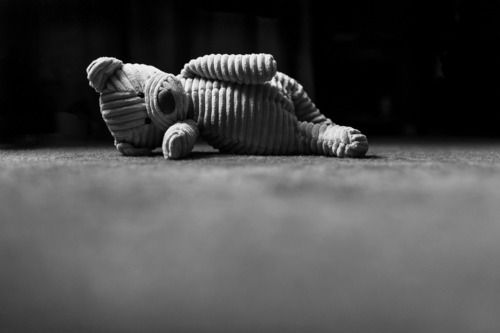 Stuffed toy bear on the floor