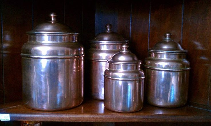 Vintage copper canisters  806.640.7825  https://www.facebook.com/The-Lions-Lair-Antiques-Home-Decor-Consignment-Gallery-448622155184875