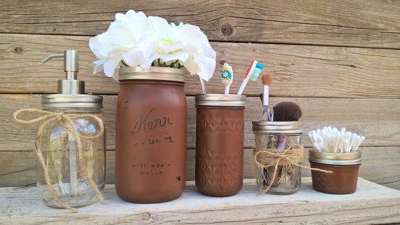 Bathroom Accessories Set-Mason Jar Bathroom Set-Painted Mason Jars-Rustic Bathroom Set-Country Bathroom Decor-Housewarming Gift-Southern
