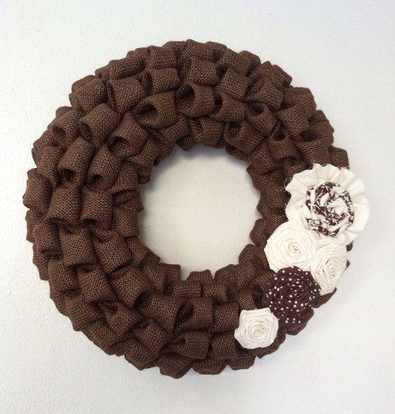 Burlap Wreath Dark Brown