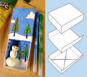 Matchbox Snowman Art. Snowman made from Model Magic and small stick. #matchboxart