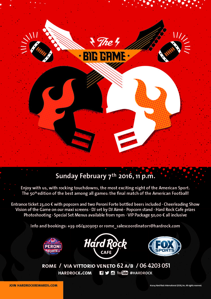 #TheBigGame at #HardRockCafe #Roma american #football final direct from our screens!