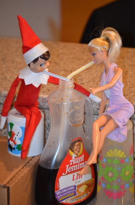 Elf on the Shelf ideasChristmas Time, Christmas Elf, Drinks Syrup, Cute Ideas, Shelves, Elf On Shelf, Elfonshelf, Barbie, Shelf Ideas
