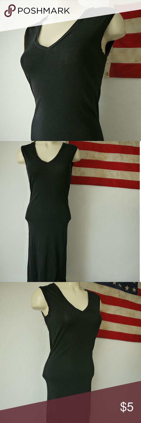 American Apparel vneck black maxi / basic maxi Simple cotton American Apparel black dress Hits around shins Size M Vneck In good condition. Has a small bleach mark on back. Really small. Price reflects American Apparel Dresses Midi