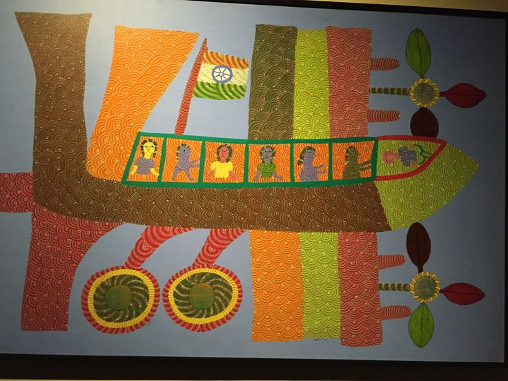 Beautiful Gond Tribal Art depicting a plane!  #Gond #Tribal #art #Plane #HTM