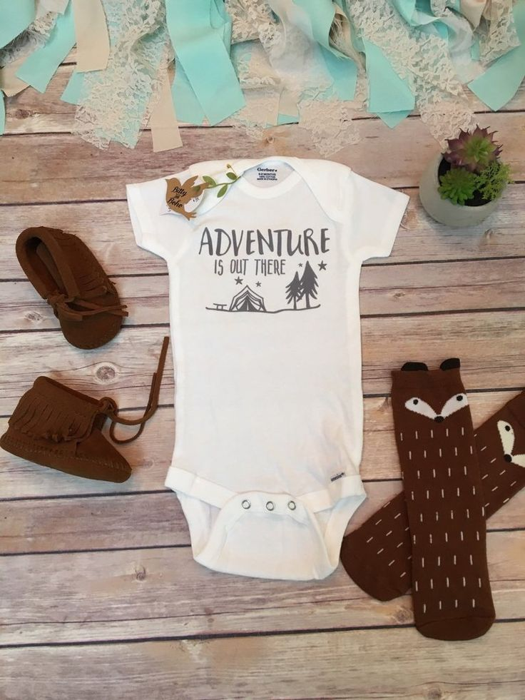 """And So The Adventure Begins Onesie® (or T-Shirt) Boho / Hipster baby boy (or girl) unisex bodysuit or t-shirt with """"And So The Adventure Begins"""" written across the front in a handwritten style font wi"""