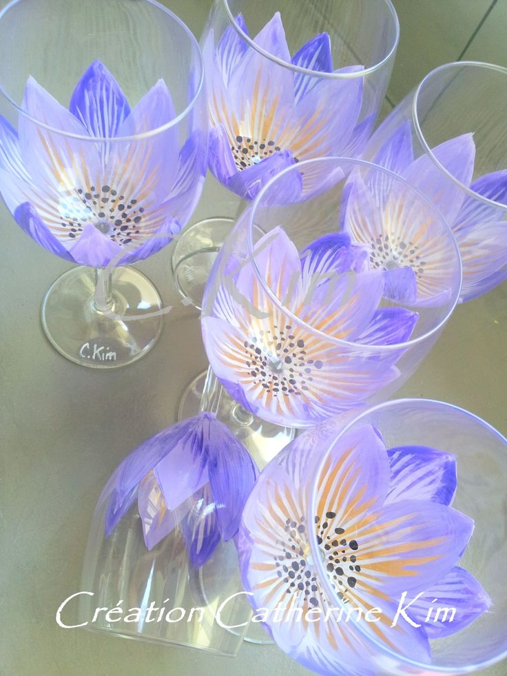 """6 Verres à pied """"FLORALE PURETE Parme et Or """" peint main C. Kim : Vaisselle, verres par catherine-kim                                                                                                                                                                                 Plus"""