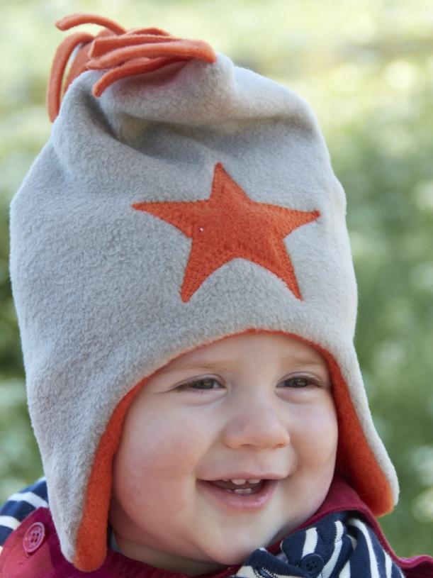 Pebble / Orange Fleece Star Hat
