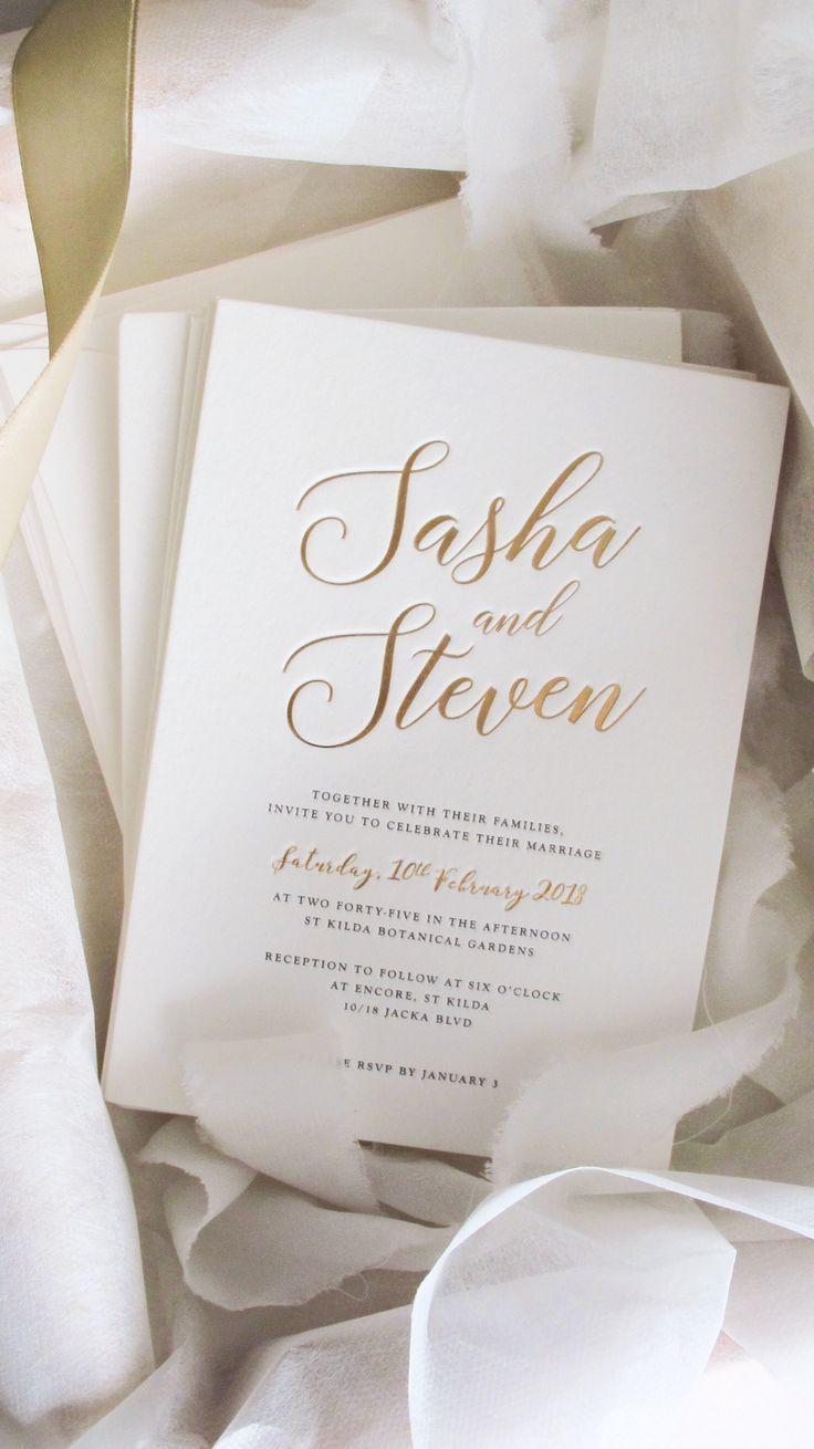 Gold Foil And Letterpress Wedding Invitation Wedding In 2020 Popular Wedding Invitations Letterpress Wedding Invitations Gold Letterpress Wedding Invitations