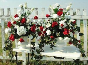 Silk Flower Arrangements Church Pew Wedding Altar Vases Red White