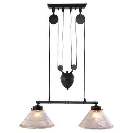 Industrial-inspired pulley island light.   Product: Island lightConstruction Material: MetalColor: