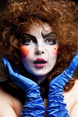 Woman Mime with Theatrical makeup, by Igor Borodin: Halloween Stuff, Fantasy Makeup, Halloween Costumes, Female Joker Makeup Doll Party, Female Clowns, Makeup Design, Halloween Party, Face Painting, Party Makeup