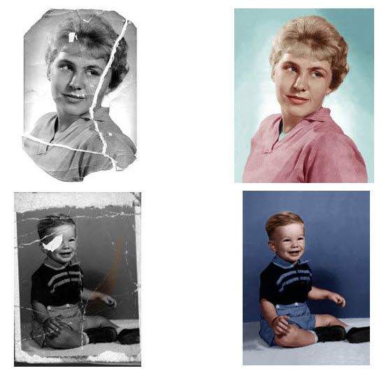 "Photos Stuck Together? Don't pull them apart!  Click on, ""here are a few tips"" (5th paragraph, highlighted in blue), to learn how to safely get them apart! From Photo Restoration Tips by Recommended US Old Photo Restoration Company"