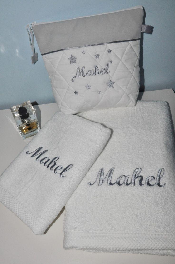 Box cadeau: serviette +drap de douche+trousse de toilette gris personnalisées brodée pour lui,pour elle naissance,anniversaire,noel : Textiles et tapis par lbm-creation