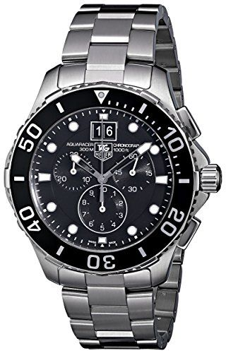TAG Heuer Men's CAN1010BA0821 Aquaracer Chronograph Watch TAG Heuer.  - Quartz movement - Scratch resistant sapphire crystal - Case diameter: 44.5 mm - Stainless steel case - Water-resistant to 1000 feet (300 M)