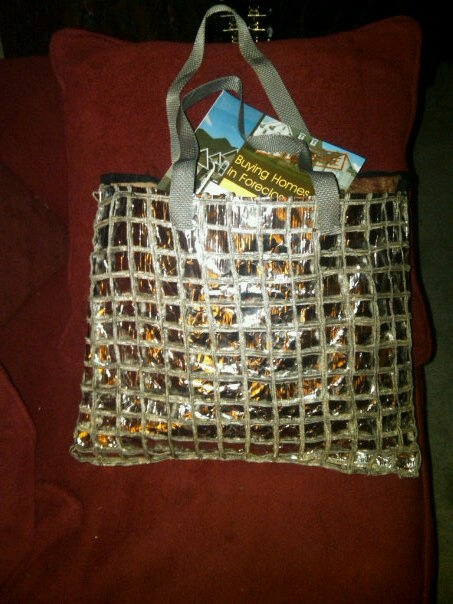 Recycled tote bag I made from dog food bag and old 80s vest .