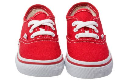Vans Authentic Red Toddler Kids Canvas Low Top Trainers Sneakers ...