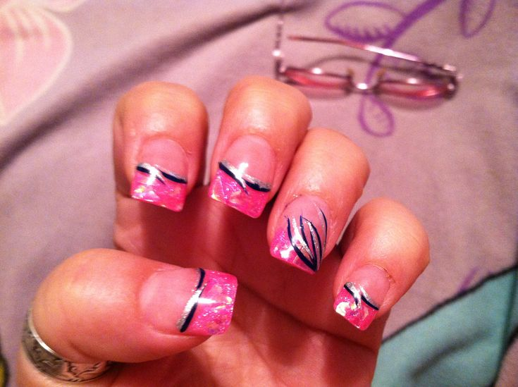 Hot nail designs pictures : Hot pink foil glitter with black and silver design solar