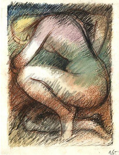 #John #Cecil #Stephenson: #Kneeling nude, c.1940  Framed  Signed twice with studio stamp  #Colour #chalk and #pastel over and #penandink #portrait ##modernart #Britishart #llfa