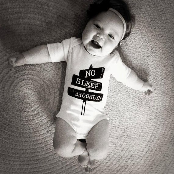 No sleep til brooklyn baby one piece bodysuit shirt by LittleAtoms