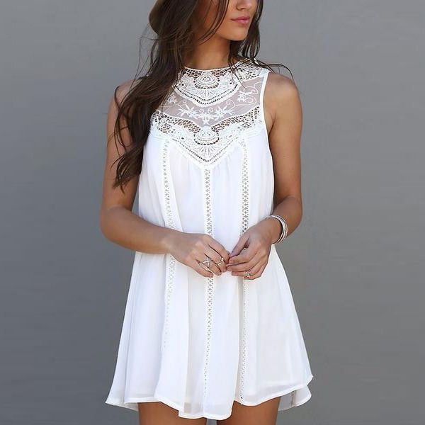 Highlight with crochet lace, this short white loose dress loose so elegant and charming. Loose and short style will make you cool and fashion. Pattern Type: Plain Color: White Dresses Length: Short St                                                                                                                                                                                 More