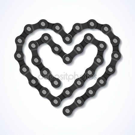 Kerékpár lánc szív — Stock Illusztráció #69937625