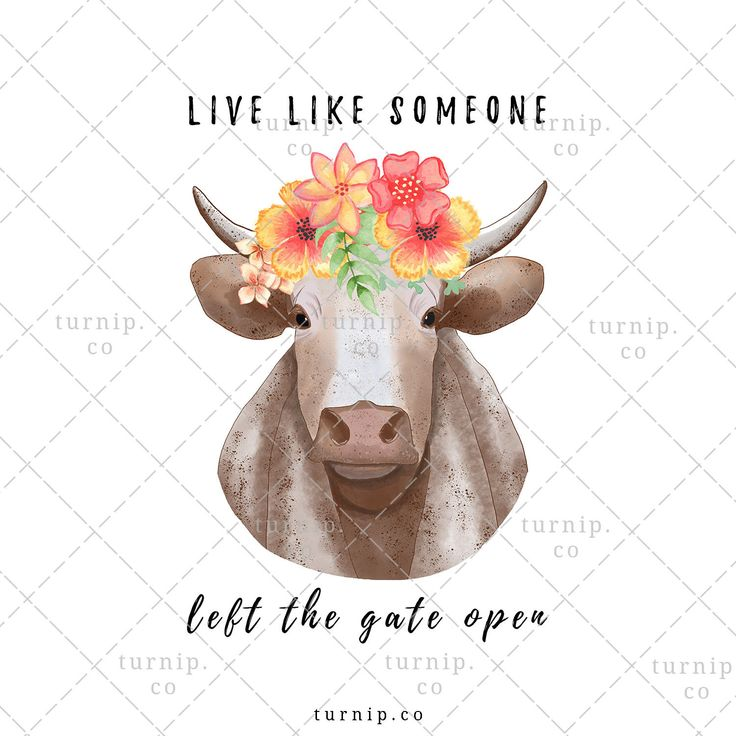 Watercolor Cow With Flower Crown Clipart PNG Sublimation