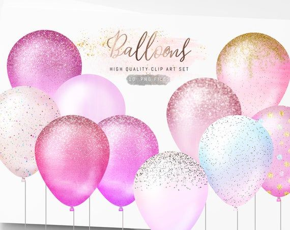 Pink Balloons Clipart Glitter Balloons Clip Art Sparkle Balloon Png Pastel Balloons Party Baby Shower Clipart Free Commercial Use Glitter Balloons Pastel Balloons Pink Balloons