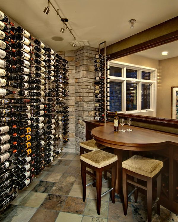 Would LOVE to have a wall full of wine for a home bar via homedit.com