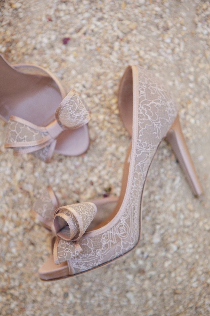 Pink lace wedding shoes.