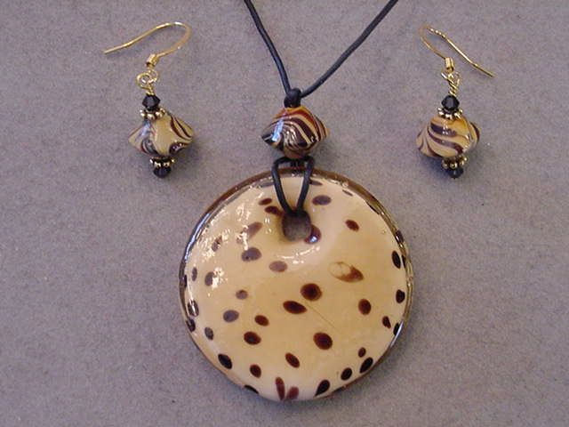Animal Print Glass Pendant Necklace with matching Animal print Earrings Abstract Glass Pendant necklace 22 inches by Magicclosetbling on Etsy