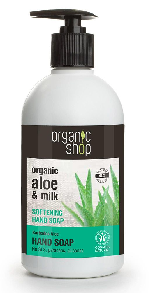 ΣΩΜΑ : Organic Shop Softening Hand Soap Barbados Aloe Cosmos Natural (BDIH) Aπαλό κεμοσάπουνο χεριών, 500ml