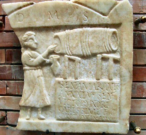 Tombstone of a barmaid. Mérida: Museo Nacional de Arte Romano   Augusta Emerita: Roman city in western Spain, modern Mérida, capital of the province of Lusitania.