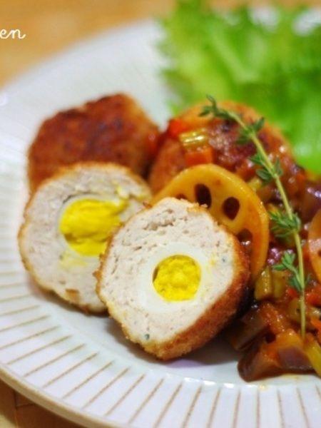 チキンで♪小さなスコッチエッグ〜野菜のソース添え by Mayu* | レシピ ...