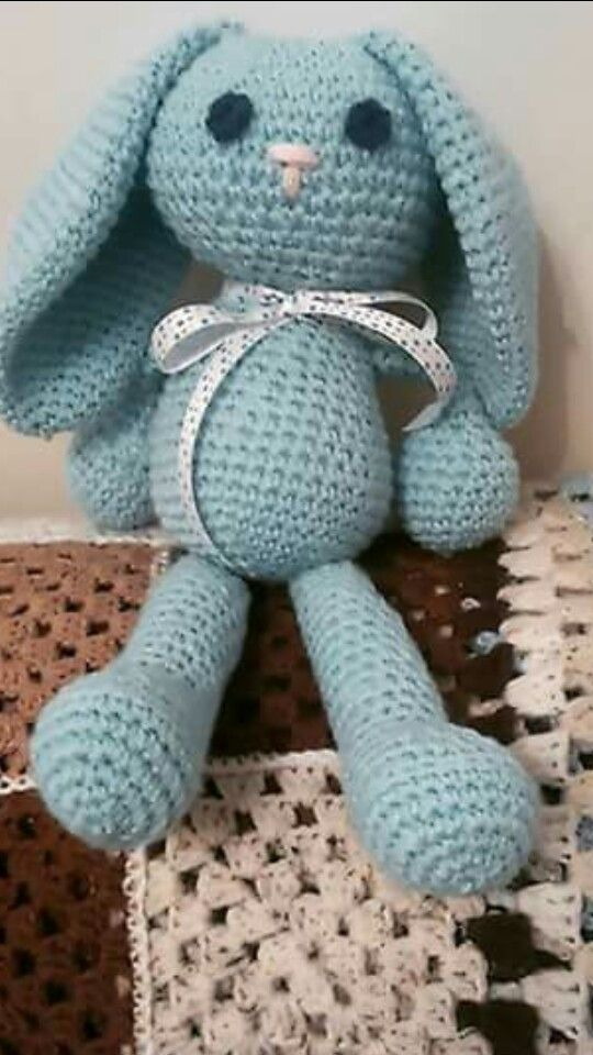 Lovely bunny i made from the simple crochet book. This one was for a lovely new born baby boys christening.