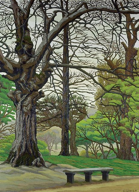 Charles Isaac Ginner (1878 - 1952)  Hampstead Heath - Spring. Painted in the spring of 1932 when Ginner was living at Hampstead.