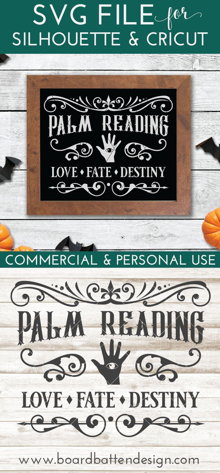 Vintage Palm Reading Sign SVG File for Halloween in 2020