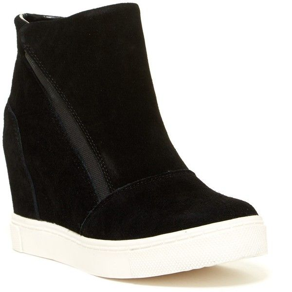 Steve Madden Loma Wedge Sneaker ($70) ❤ liked on Polyvore featuring shoes, sneakers, black sued, black high-top sneakers, black slip-on shoes, black hi tops, black hi top sneakers and wedge sneakers