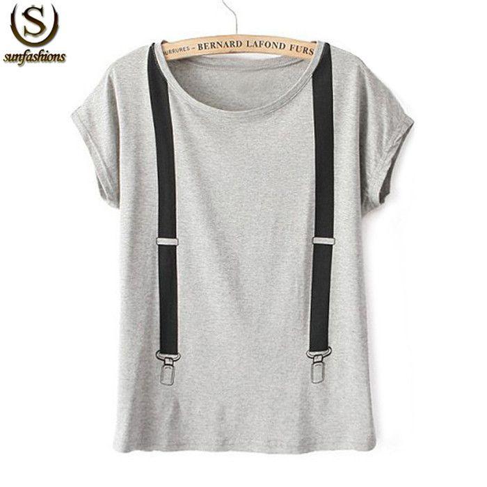 Roupas Femininas Womens Grey Short Sleeve Strap Printed Cotton Loose Summer 2015 Latest Designers Street Casual T-Shirt